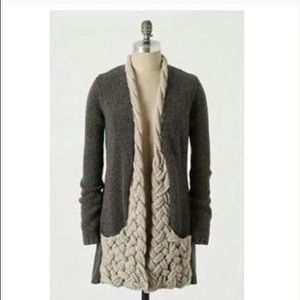 Anthropologie sparrow braided front open cardigan